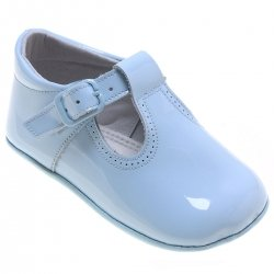 Baby T bar Blue Patent Pram Shoes with Buckle Fastening