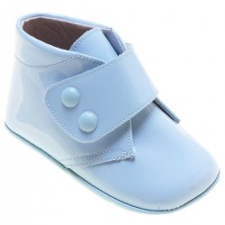 Baby Boys Blue Patent High Ankle Pram Shoes