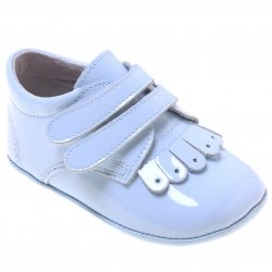 Baby Boys Baby Blue Patent Pram Shoes With Double Strap