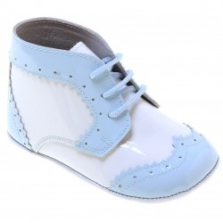 Beautiful Baby Boys Blue White Patent Shoes