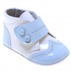 Baby Boys High Ankle Support Baby Blue And White Patent Shoes