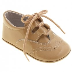 Brogue Style Baby Boys Caramel Brown Patent Pram Shoes