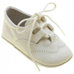 Baby Boys Ivory Patent Brogue Style Pram Shoes