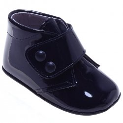 Baby Boys Navy Patent Velcro Fasterning Pram Shoes
