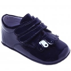 Baby Boys Navy Patent Pram Shoes With Double Strap