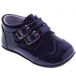 Baby Boys Navy Patent Double Strap Pram Shoes