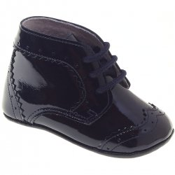 Baby Boys Navy Patent Pram Shoes Ankle High Made in Spain