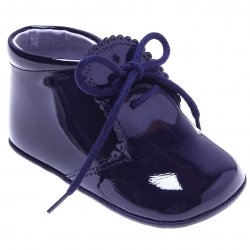 Beautiful Baby Boys Navy Patent Pram Shoes Scallop Edge