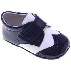 Baby Boys Navy And White Patent Pram Shoes