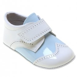 Baby Boys Baby White Blue Patent Shoes