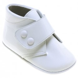 Baby Boys White Patent Boot Style Pram Shoes