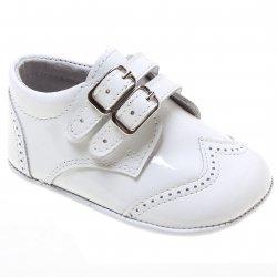 02ec9b65163b Baby Boys White Patent Double Strap Pram Shoes