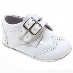 Baby Boys White Patent Double Strap Pram Shoes