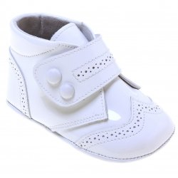 Baby Boys Velcro Strap White Patent Shoes