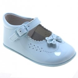 Baby Girls Blue Patent Pram Shoes With Bow