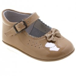 Baby Girls Caramel Brown Colour Bow Decorated Patent Pram Shoes
