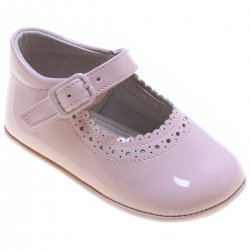 Baby Girls Pink Patent Mary Jane Style Pram Shoes