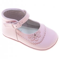 Baby Girls Pink Patent Shoes Flower Scallop Decoration