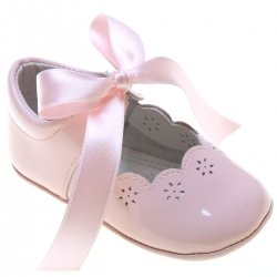 Spanish Baby Girls Pink Patent Leather Shoes With Ribbons