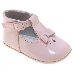 Baby Girls Pink Patent T Bar Shoes Scallop And Bow Decoration
