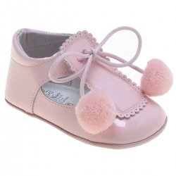 Baby Girls Pink Patent Pom Pom Shoes