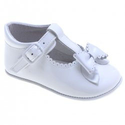 Baby Girls T Bar White Patent Bow Shoes Scallop And Bow