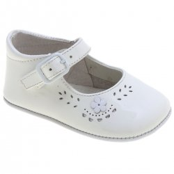 Baby Girls White Patent Pram Shoes