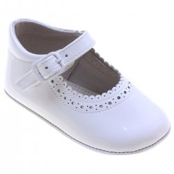 Baby Girls White Patent Shoes Scallop Edge