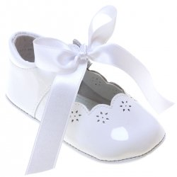 Spanish Baby Girls White Patent Leather Shoes With Ribbons