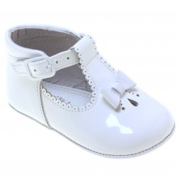 Baby Girls White Patent T Bar Shoes Scallop And Bow
