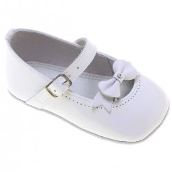 Baby Girls White Patent Shoes Bow Decoration