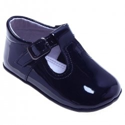Baby Navy Patent T Bar Pram Shoes