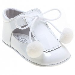 Baby White Pom Pom Shoes In Patent Leather
