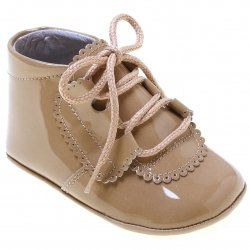 Baby Boy Caramel Brown Patent Leather Pram Shoes Scallop Pattern
