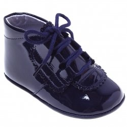 Lace Up Baby Boys Navy Patent Pram Shoes Scallop Trim Decoration