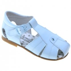 Boys Baby Blue Roman Sandals In Patent Leather