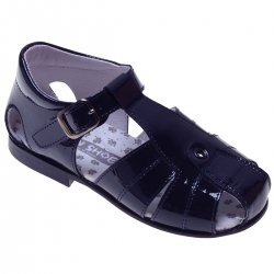 Boys Navy Roman Sandles In Patent Leather