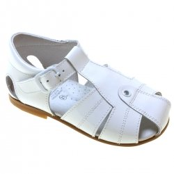 Boys White Patent Leather Sandals