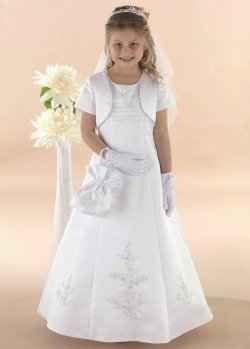 Beads And Sequins Communion Dress With Bolero