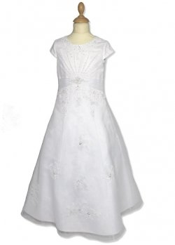 Beaded Organza A Line Communion White Dress