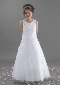 First Holy Communion Dress With Side Ruched And Beaded
