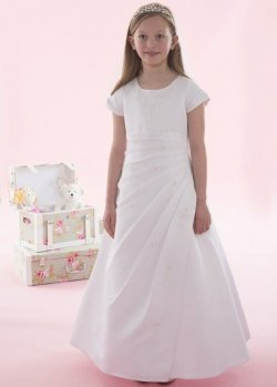 First Holy Communion Dress Beaded Satin Pleat