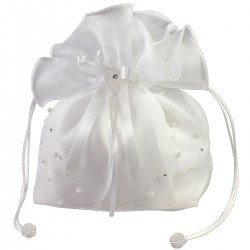 Linzi Jay Communion White Dolly Bag Pearls And Diamantes With Satin And Organza