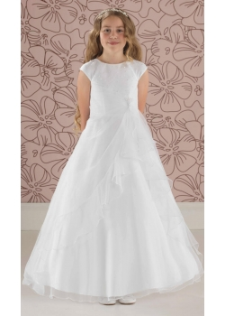 Linzi Jay Beaded Bodice Ruched Skirt White Communion Dress