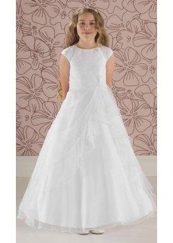 eacabf320272 Linzi Jay Beaded Bodice Ruched Skirt White Communion Dress