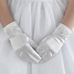 Large Flower Beads White Communion Gloves