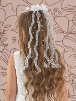 Linzi Jay Organza Flower Comb With Organza Trails