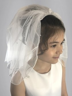 Linzi Jay White Pearls First Holy Communion Veil