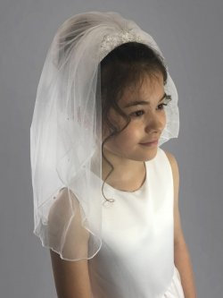 Linzi Jay White Scattered Pearls First Holy Communion Veil