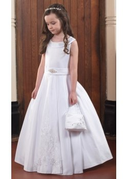 1d80c8b5ca61 Linzi Jay Satin Scoop Collar Pleated Waistband White Communion Dress